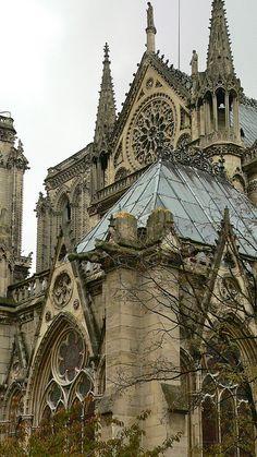 South view of Notre Dame de Paris.