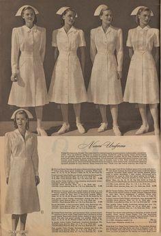 The Closet Historian: Cataloging Catalogs: Ward's Fall/Winter Even More Dresses! Nursing Clothes, Nursing Dress, 1940s Fashion, Vintage Fashion, Nurse Aesthetic, Vintage Nurse, Montgomery Ward, House Dress, Vintage Glamour