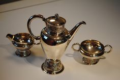 Gustav Gaudernack design for David Andersen. Silver coffee set with viking ornaments. Exibited in Cremlin (Dragond from the north exhibition). ca 1905