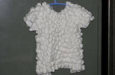 homemade ready cotton balled wooly boy jacket for sheep fancy dress costume