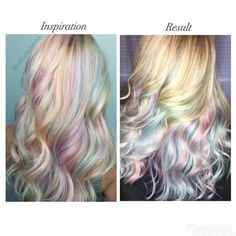 Inspo pic and after result! So happy with this opal/pastel shades of the rainbow hair   Hair colour, cut and styled by Chanae Hiller at Ahead of Style Hair Artistry