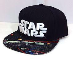 new STAR WARS SNAPBACK HAT Millennium Falcon Photo Flat-Bill Black/White WOOL #StarWars #BaseballCap