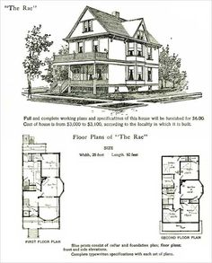 Vintage Farmhouse Plans radford - 1903 - queen anne cottage, wrapped porch | vintage house