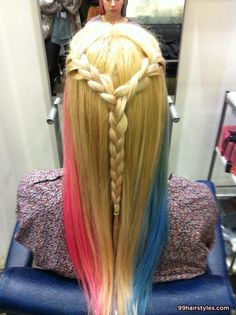cool long blonde colorful hairstyle with braid - 99 Hairstyles Ideas