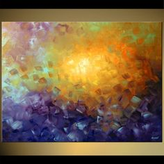 Original abstract art paintings by Osnat - soft abstract painting in purple and yellow