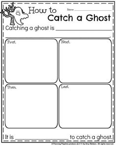 Informative Writing Prompts for October - How to Catch a Ghost. Informative Writing, Informational Writing, 2nd Grade Writing, Third Grade, Kindergarten Math Worksheets, Worksheets For Kids, Narrative Writing Prompts, Halloween Worksheets, Rhyming Words