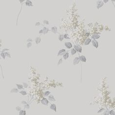 Lilacs by Boråstapeter - White and Taupe - Wallpaper : Wallpaper Direct