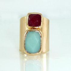 SALE Gemstones Ring Amazonite & Ruby Jade Statement by inbalmishan
