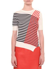 Jil Sander Grid-Print Short-Sleeve Sweater & Leather A-Line Skirt