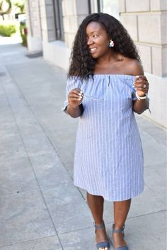 Summer Must-Haves: The Blue & White Stripe- Blue and white off the shoulder dress, perfect for the summer!! I have linked many affordable prices as well!!