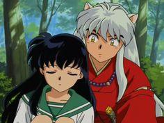 Kagome (a girl from modern Tokyo) and InuYasha (a half dog-demon)