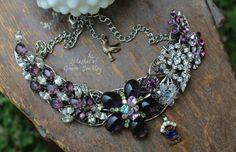 OOAK, Vintage Repurposed, Upcycled, Assemblage Bib Necklace Sparkles in Regal Purple