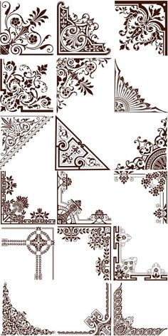 Set of vector natural floral ornate corners for decorating your postcards, brochures, invitations and other Free Graphics, Vector Graphics, Vector Vector, Vector Border, Graphics Vintage, Vintage Logos, Retro Logos, Vintage Typography, Motion Graphics