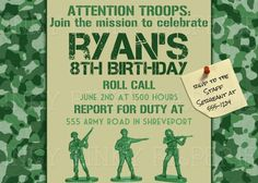 Army or military camo birthday party invitation. $15.00, via Etsy.
