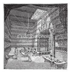The roman period massage room vintage engraving.
