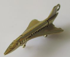 Gold Concorde Plane Articulated Charm by Britishgoldandsilver on Etsy
