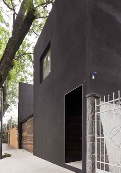 A beautiful minimalist house in Mexico city with a rich black surface accented by natural wood screens and dividers