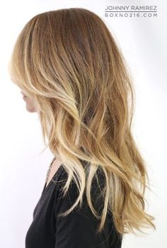Sombre hair, face framing with lighter blonde