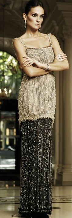 black & gold beaded Chanel dress, perfect for any Theta or Gatsby themed party
