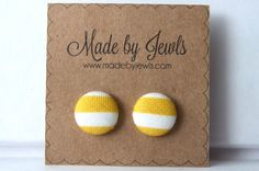 New to jewlswashere on Etsy: Fabric Covered Button Earrings - Mustard Stripe - Buy 3 get 1 FREE (6.00 USD)