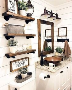 Are you looking for pictures for farmhouse bathroom? Browse around this website for perfect farmhouse bathroom inspiration. This particular farmhouse bathroom ideas will look terrific. Rustic Bathroom Designs, Rustic Bathroom Decor, Farm House Bathroom Decor, Bathroom Shelf Decor, Rustic House Decor, Rustic Apartment Decor, Towel Racks For Bathroom, Kitchen Decor, Plank Wall Bathroom