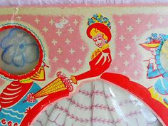 Vintage CRINOLINE LADY HANDKERCHIEF Paper Doll Boxed Embroidered Skirt Dress Umbrella Parasol Hankie Hanky Unused Set 1950s Blue Yellow Red
