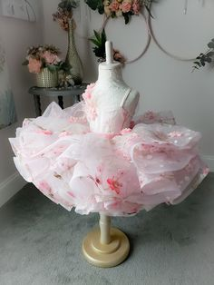 Cherry Blossoms Dress by Anna Triant Couture Little Girl Gowns, Gowns For Girls, Dresses Kids Girl, Kids Outfits, Cherry Blossom Dress, Cherry Blossoms, Baby Pageant Dresses, Party Dresses, Baby Girl Birthday Dress