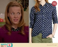Daphne's navy elephant print shirt on Switched at Birth.  Outfit Details: http://wornontv.net/34595/ #SwitchedatBirth