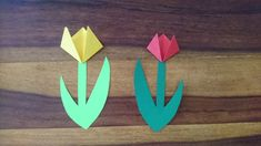 How to make a tulip - Ideas - Activities for kids staying at home during the corona-crisis - 4 In this video, I show you how to make a tulip flower. Cutting Activities, Activities For Kids, Tulips Flowers, Stay At Home, Handicraft, Bunt, Colours, Make It Yourself, How To Make