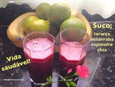 Uma delícia o suco de laranja, beterraba, espinafre e chia! Mais saúde e nem precisa adoçar!