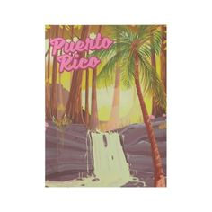 Puerto Rico Tropical Palm travel poster - decor diy cyo customize home