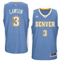 ty lawson denver nuggets adidas player swingman road jersey light blue