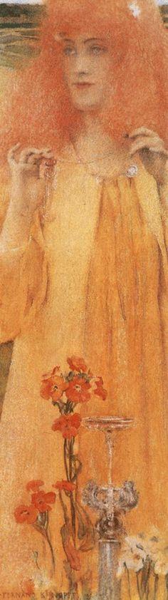 Némésia by Fernand Khnopff, 1895 Rose Croix, Orange Art, Yellow Art, Pre Raphaelite, Belle Epoque, Figure Painting, Impressionist, Sculpture, Flower Art