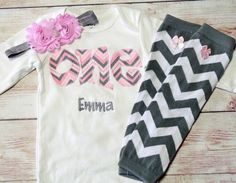 """PINK and GRAY CHEVRON Birthday """"One"""" Outfit for Girls First Birthday - 1st Birthday Shirt  - Matching Headband and Leg Warmers"""