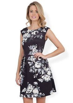 Black and White Floral Print Dress www.mlleshopping.com visiter www.mlleshopping.com CLOSET