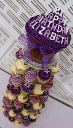 21st Birthday Cupcake Tower and Giant Cupcake                              …