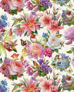 So very pretty. I would love to do one wall with a print like this. Decoupage Vintage, Vintage Paper, Flower Wallpaper, Wallpaper Backgrounds, 3d Prints, Floral Prints, Botanical Art, Vintage Flowers, Pattern Paper