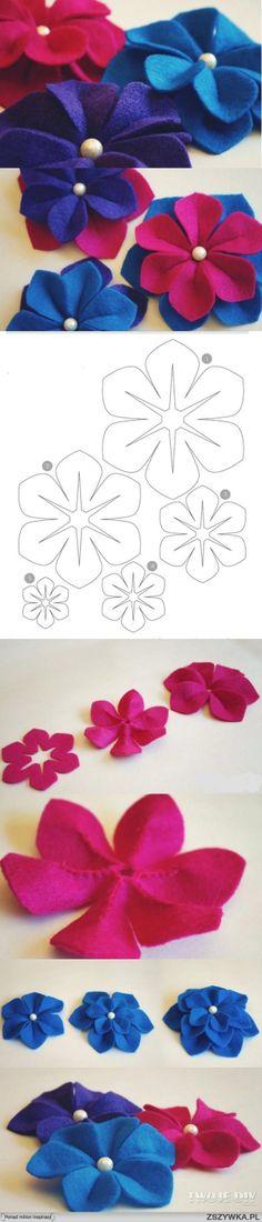 Filcowe kwiaty  ŹRÓDŁO: knitly