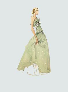 William Travilla - Costumes - Esquisses et Croquis - Robe de Soirée - Couture