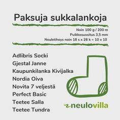 Sukkalankataulukko eli millä langalla voi korvata ohjeessa mainitun la – Neulovilla Knitting Stitches, Diy And Crafts, Weaving, Crochet, Yarns, Knitting Patterns, Ganchillo, Loom Weaving, Crocheting