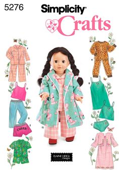 Nice 'home sick' gift. Matching pajamas. Simplicity 5276 Doll Clothes  Sleepwear and Loungewear Wardrobe for 18 Inch Dolls