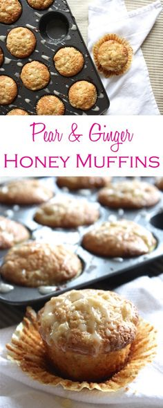 Pear and ginger honey muffins are packed with flavor and easy to make—no mixer required!   Recipe by @haleydwilliams