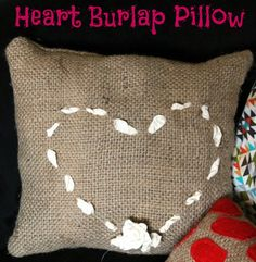Use some burlap and ribbon to create this Valentine's themed pillow!