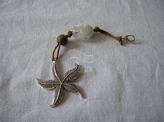 Keyring marine style,nautic,starfish,purse charm,zipper pull charm,brown,gift,marine style,nautical style,brown tread,white bead [Cod.22]