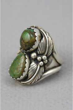vintage green turquoise sterling silver