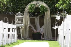 Hanging votives...perfect aisle touch!