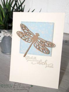 Eine schlichte und einfache Karte mit Libelle und dem Designerpapier zum Verlieben habe ich heute.     Die Stickmuster Framelits begeister...