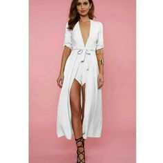 Host Pick ·White Maxi Romper Playsuit· Summer Staples Party Host Pick · This is brand new with tags!!  · I paid $84.60 after everything!! · 50% Polyester/50% Rayon. Waist tie. Zipper in back. · Dress/romper will come wrinkly, but in its original bag! · NO trades! · This item is firm @ $81! All offers will be declined! · No discount will be given if bundled with other items! · There is a 'NO returns' policy. Please be advised! Runway Dresses Maxi