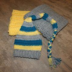 Crochet Newborn Baby Hat & 2 Blankets set, Elf hat, Braided Gnome Hat Photo prop