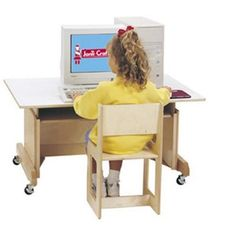 """""""This traditional computer desk is perfect for any child boy or girl. Constructed of sturdy solid hardwood that ensures many years of use. The tabletop features easy to clean laminate and features rounded edges for child safety. This desk features """"""""""""""""full back"""""""""""""""" construction that protects cords and locking wheels. Height can be adjusted in two-inch increments from 18-30 inches high. Available with an optional matching chair. Built child-safe and re"""""""